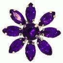 3 x purple crystal flower brooch 28mm