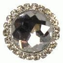 3 x small clear diamante brooch 22mm