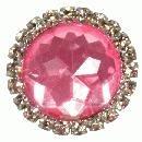 3 x small diamante pink brooch 22mm