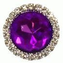 3 x small purple diamante brooch 22mm