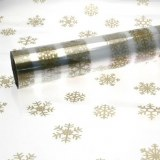 Gold Christmas snowflakes cellophane wrap
