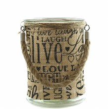 Glass jar with hessian and rope handle 12.2 x 17cm