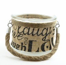 Glass jar with hessian and rope handle 12.2 x 9.3cm