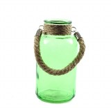 Green glass milk jar with rope handle 10 x 20cm