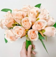 Artificial Bud Rose champagne x 20