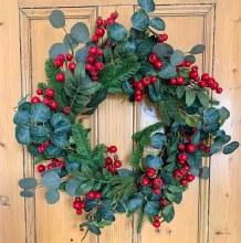 """Large Eucalyptus Red Berry Door Wreath 24"""""""