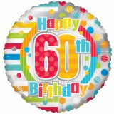 Happy 60th Birthday Foil Balloon 18""