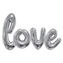 Extra Large Love Foil Balloon Silver 84inch x 53inch Silver