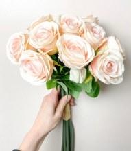 Closed Rose Bunch Cream/ Pink x 10 Stems