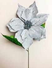 Poinsettia Stem Silver 56cm x 25cm