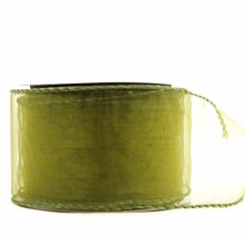 Wired edge green organza ribbon, 2.5in x 10yards