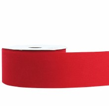 Red flocked fabric ribbon, 2.5in x 25m