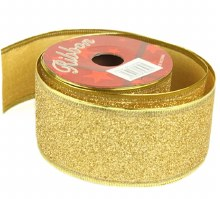 Gold glitter Christmas wired edge ribbon 5cm x 10y