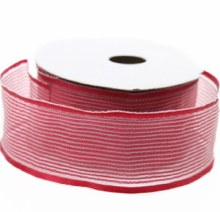 Burgundy sheer satin ribbon, 25m x 40mm