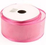 Dark pink sheer satin ribbon, 40mm x 25m