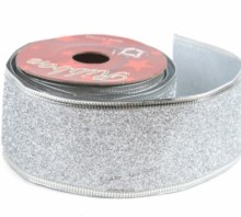 Silver glitter Christmas wired edge ribbon 5cm x 10y