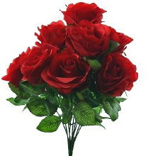 Red silk rose bunch with 9 roses