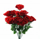 Red silk rose bunch x 12