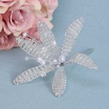 Clear Diamante Flower & Pearl Stem