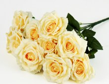 Additional picture of Artificial Rose Bunch x 10 Heads Pale Lemon