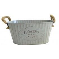 Zinc Flower Container Grey 30cm x 20cm x 14cm