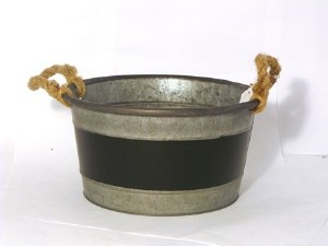 Zinc bowl with rope handles and chalk board 27.5cm