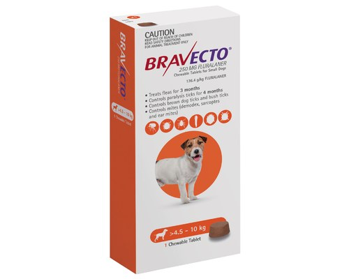 Bravecto Chewable Tablets For Small Dogs 4 5 10kg 1 Pack Orange My Pet Warehouse