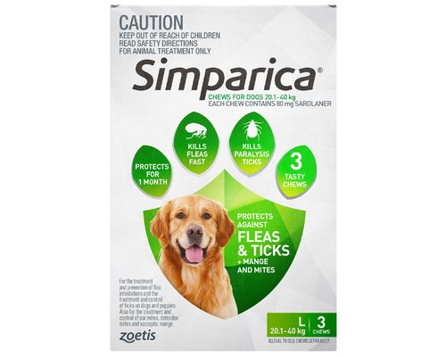 Simparica 20 1 40kg 80mg 3 Pack Green My Pet Warehouse