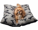 BONE DESIGNS DOG BED PILLOW GREY WITH BLACK BONES**