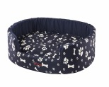 SNOOZA BUDDY DOG BED PAWS BONES NAVY LARGE 80X72CM