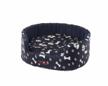 SNOOZA BUDDY DOG BED PAWS BONES NAVY MEDIUM 64X60CM