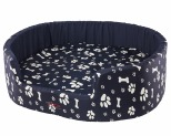 SNOOZA BUDDY DOG BED PAWS BONES NAVY X LARGE 98X85CM