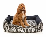 HARPER & HOUND GEOMETRIC RECTANGULAR BED BLACK MEDIUM-LARGE 100X80X25CM