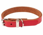 K9 COLLAR PLAIN LEATHER 12X35CM RED