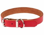 K9 COLLAR PLAIN LEATHER 18X45CM RED
