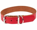K9 COLLAR PLAIN LEATHER 25X55CM RED