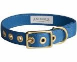 ANIMALS IN CHARGE OCEAN BLUE + BRASS ALL WEATHER COLLAR: SMALL
