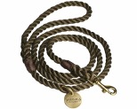 ANIMALS IN CHARGE OLIVE + BRASS ROPE DOG LEASH