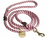 ANIMALS IN CHARGE ROSE PINK + BRASS ROPE DOG LEASH