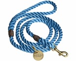 ANIMALS IN CHARGE SKY BLUE + BRASS ROPE DOG LEASH