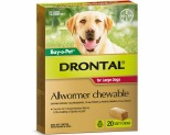 DRONTAL ALLWORMER CHEWABLE FOR LARGE DOGS UP TO 35KG 20 PACK