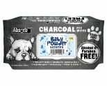 ABSORB PLUS CHARCOAL PET WIPES - BABY POWDER 80 SHEETS**