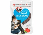 LOVE EM GOURMET BEEF SAUSAGES WITH TOMATO AND BASIL 120G