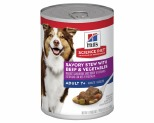 HILL'S SCIENCE DIET SAVORY STEW WET DOG FOOD WITH BEEF & VEGETABLES ADULT 7+ 363G