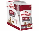 ROYAL CANIN MEDIUM AGEING +10 WET FOOD GRAVY POUCH 10X140G