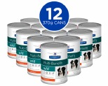 HILL'S PRESCRIPTION DIET W/D DIGESTIVE/WEIGHT/GLUCOSE MANAGEMENT WET DOG FOOD WITH CHICKEN CANS 12X370G
