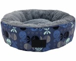 LA DOGGIE VITA GO FISH INDIGO ROUND CAT BED