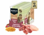 BLACK HAWK GRAIN FREE ADULT CHICKEN WITH LAMB WET CAT FOOD POUCHES 12X85G
