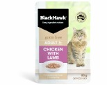 BLACK HAWK GRAIN FREE ADULT CHICKEN WITH PEAS AND BROTH WET CAT FOOD POUCHES 85G