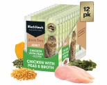 BLACK HAWK GRAIN FREE ADULT CHICKEN WITH PEAS AND BROTH WET CAT FOOD POUCHES 12X85G
